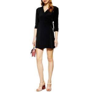 New topshop wrap mini dress black 6
